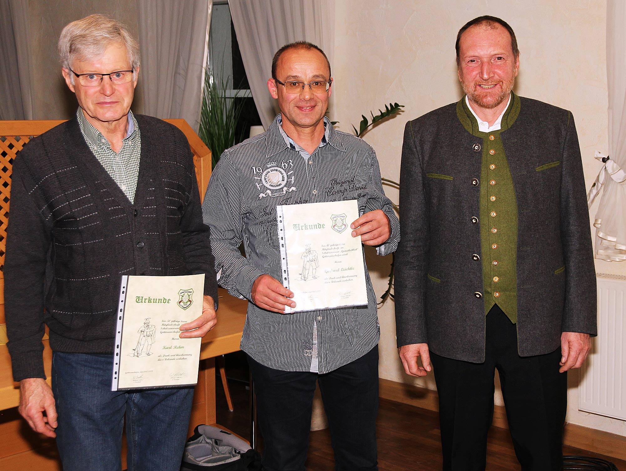 Jahresversammlung der Schützen - Ehrung langjähriger Mitglieder