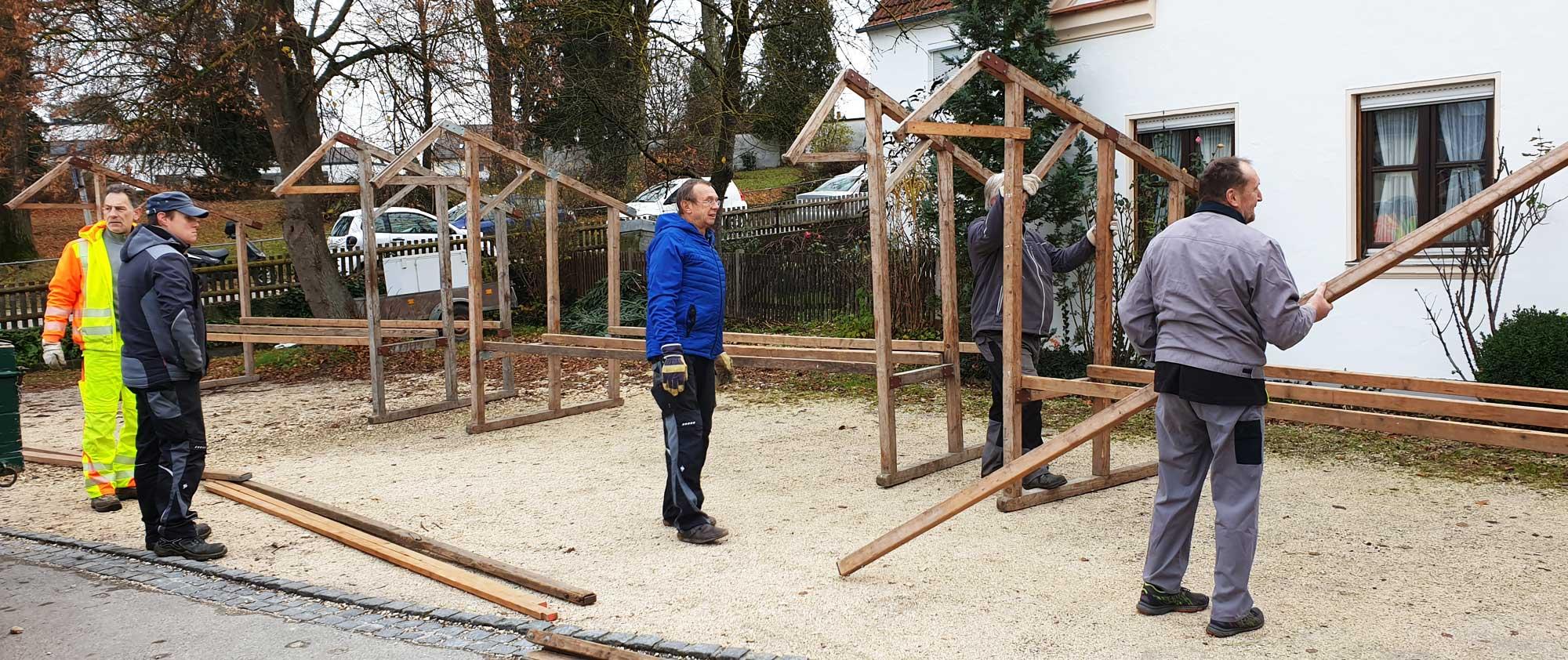2019 Adventsmarkt in Gottmannshofen - Aufbau der Verkaufsstände